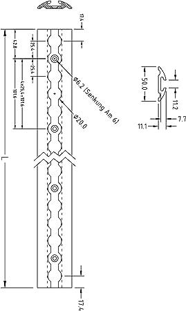 Ntg Lot de 4 rails da/ération en aluminium 2 m