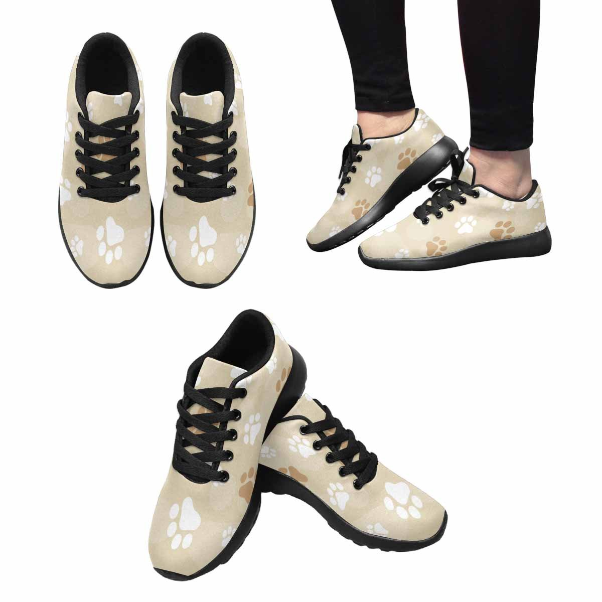 InterestPrint Women's Jogging Running Sneaker Lightweight Go Easy Walking Comfort Sports Running Shoes Dog Paw Prints with Brown Color 6 B(M) US
