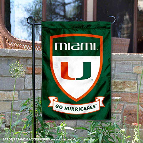 University Shield - College Flags and Banners Co. Miami Hurricanes Shield Garden Flag