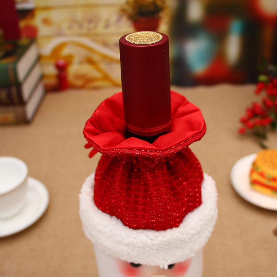 Janly/® Cartoon Santa Claus Snowman Reindeer Wine Bottle Cover Bags Wrap Drawstring Pouch Christmas Wine Bottle Gift Bag Holder Dinner Table Decoration Home A1, A