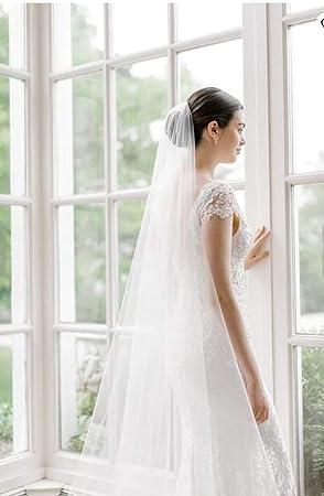 Simsly Brautschleier Brautschleier mit Kamm Weicher T/üll 3m lang f/ür Braut und Brautjungfern Elfenbein