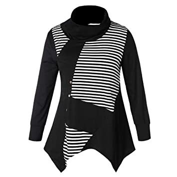 Wardrobe Stylish Casual Black and White Striped Loose Pullover Sweater for Women