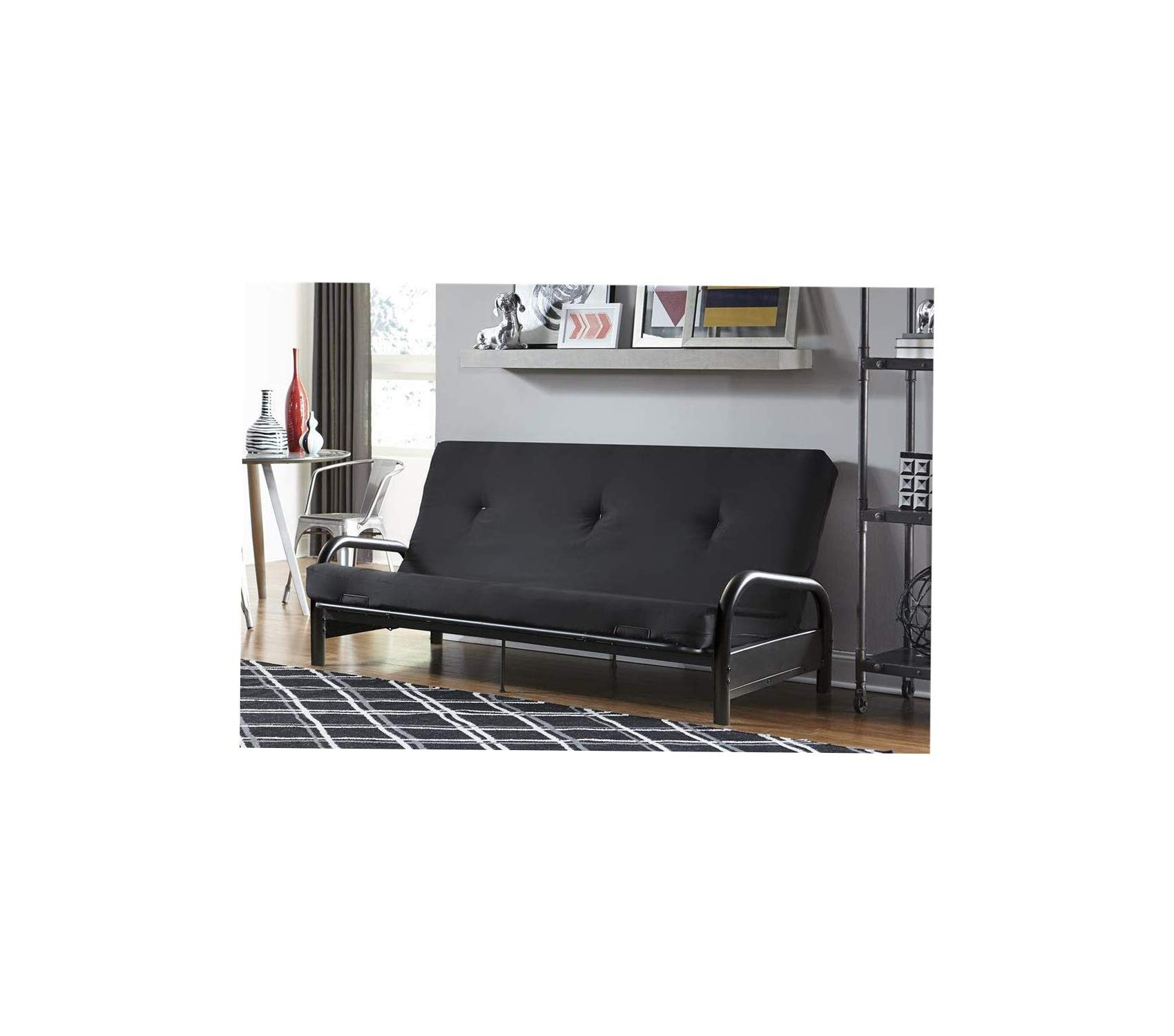 Wood & Style Office Home Furniture Premium Vermont Metal Frame and 6 Black Futon and Mattress Set, Full by Wood & Style
