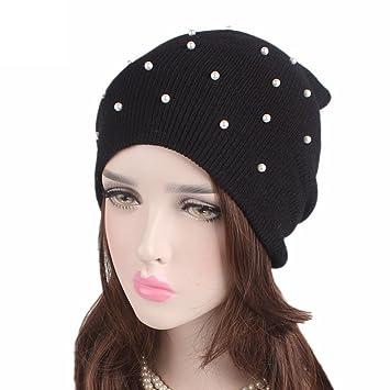 TININNA Mode Tricoté Beanie Hat avec Perle Hiver Oreille Chauffe,chapeau  Casquette de Ski Bonnet