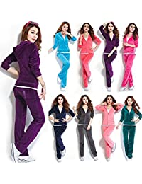 Wind of Spring SPRINGWIND Women's Velour Hoodie+Pant Tracksuit Sport Sweat Suit Set