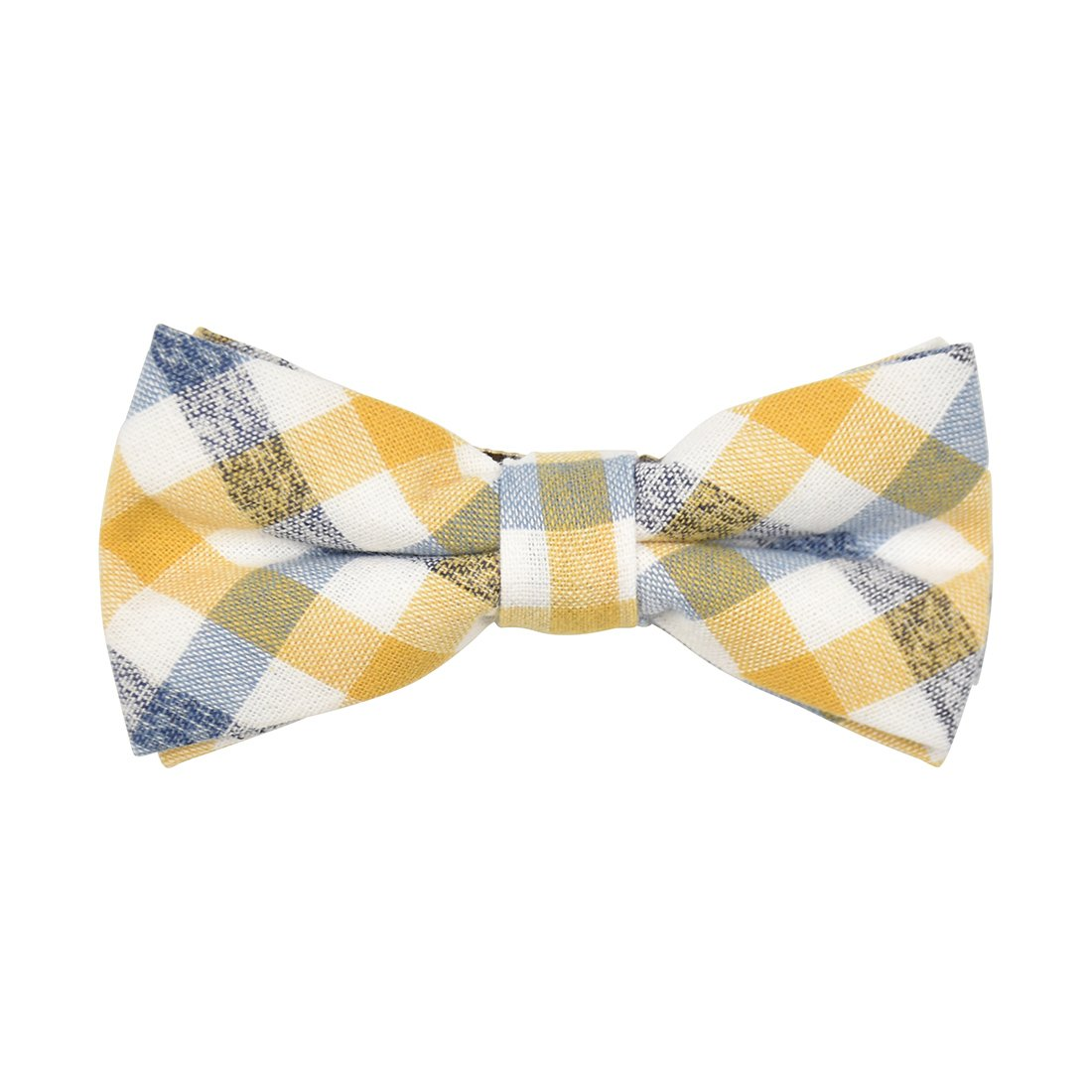 Checkered Cotton Bow Tie with Metal Clip-Yellow