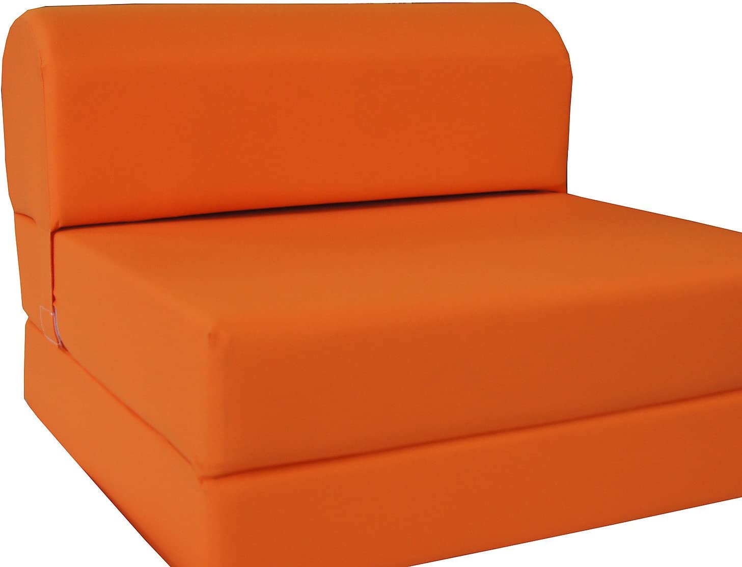 D D Futon Furniture Orange Sleeper Chair Folding Foam Bed Sized 6 X 32 X 70, Studio Guest Foldable Chair Beds, Foam Sofa, Couch, High Density Foam 1.8 lbs