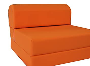 "D&D Futon Furniture Orange Sleeper Chair Folding Foam Bed Sized 6"" Thick X 32"" Wide X 70"" Long, Studio Guest Foldable Chair Beds, Foam Sofa, Couch, High Density Foam 1.8 Pounds. by D&D Futon Furniture"