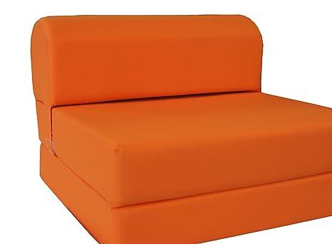 D&D Futon Furniture Orange Sleeper Chair Folding Foam Bed Sized 6 X 32 X 70, Studio Guest Foldable Chair Beds, Foam Sofa, Couch, High Density Foam 1.8 ...