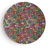 """iPrint 8"""" Porcelain Dinner Plate with Stand Ethnic Vivid Funky Style Tribal Ornamental Leaves Flowers Bands Artsy Design"""