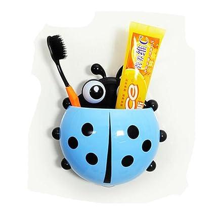 Cute dibujos animados Mariquita vaso para cepillos de dientes para niños con ventosa de pared para