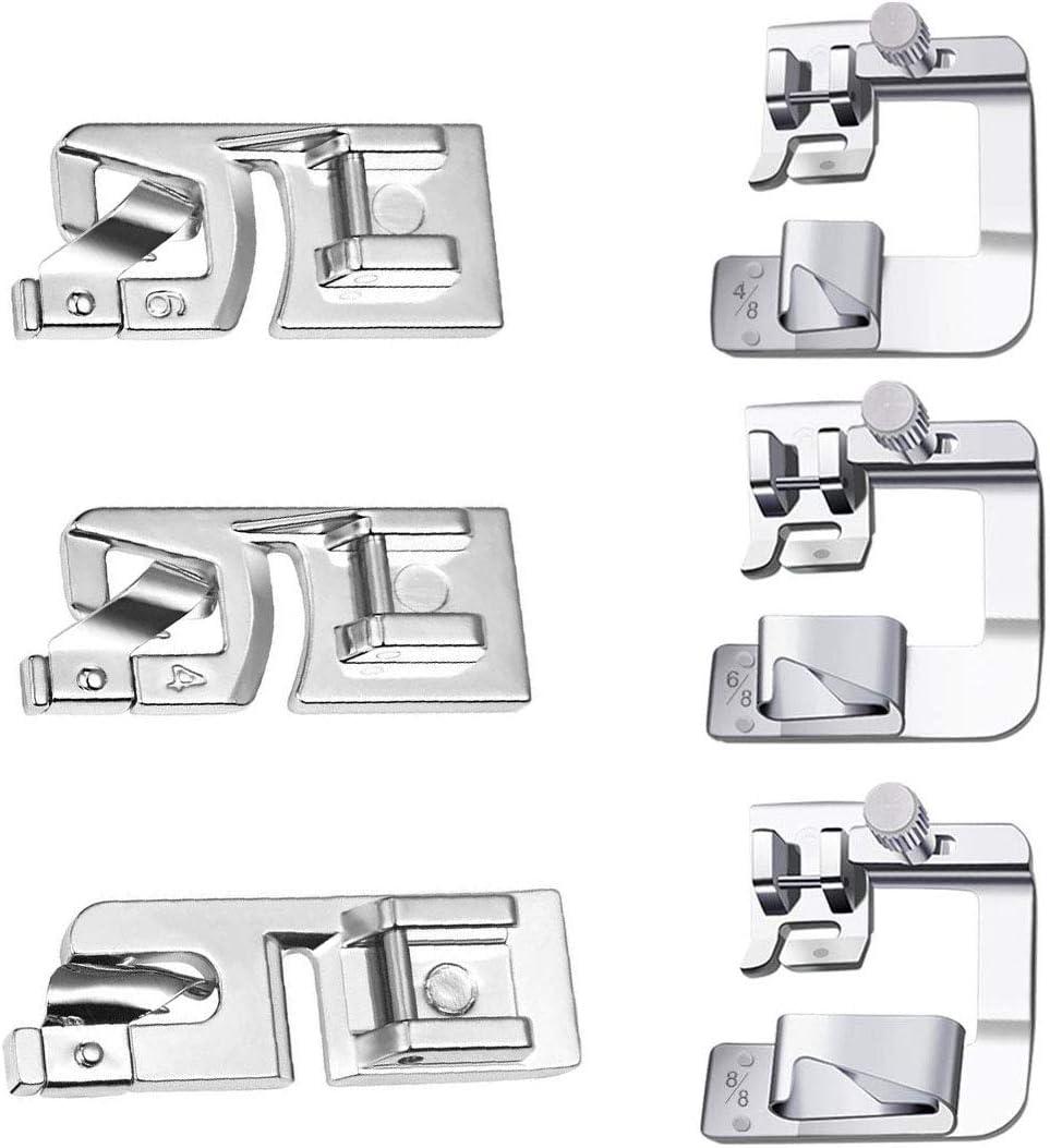 Prensatelas para Dobladillo Máquina de Coser,Tangger Prensatelas Máquina Coser Accesorios de Costura,6 Modelos,6PCS