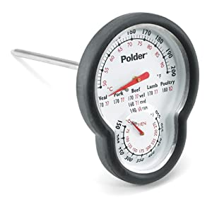 Polder 12453 Dual Sensor In-Oven Thermometer, Stainless Steel with Easy-to-Read Face and High-Heat Grip