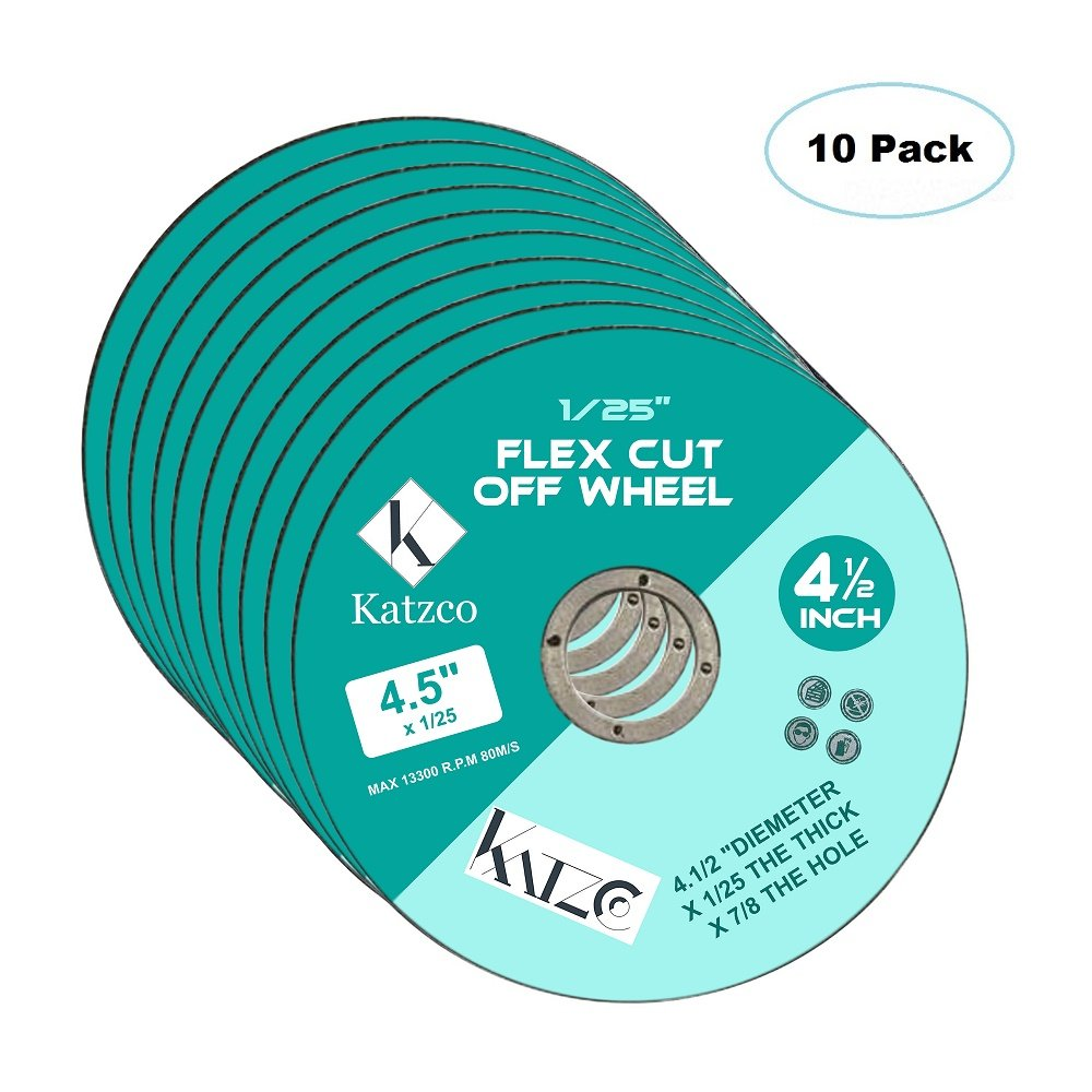 Flex Cut Off Wheels- For Cutting Metal And Steel -4 ½ Inch To Use With Angle Grinders - 4.5''X 1/25 Max 13300 R.P.M 80M/S- 10 Pack By Katzco