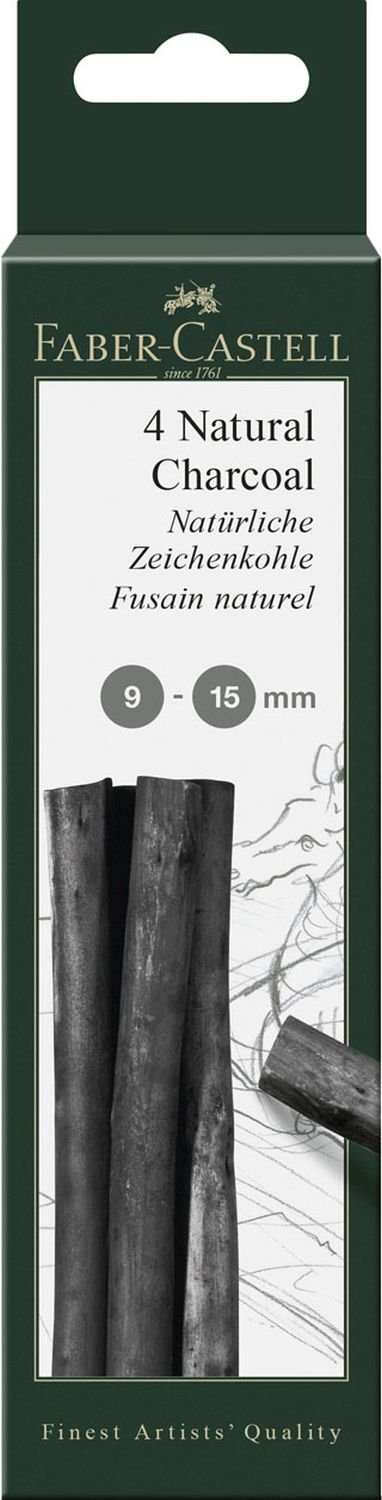 Faber-Castell Pitt 9-15mm Natural Charcoal Sticks (Pack of 4) Faber Castell F129498 606095 Artykuly papiernicze
