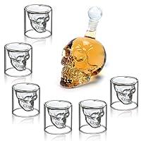 MVPOWER Verres à Whisky Design Tete de Mort 700ML en Verre Cristal Transparent, Carafe Avec 6 Verres à Cocktail Vodka en Forme de Crâne de Mort, Idéal Comme Cadeau, Décoration Halloween
