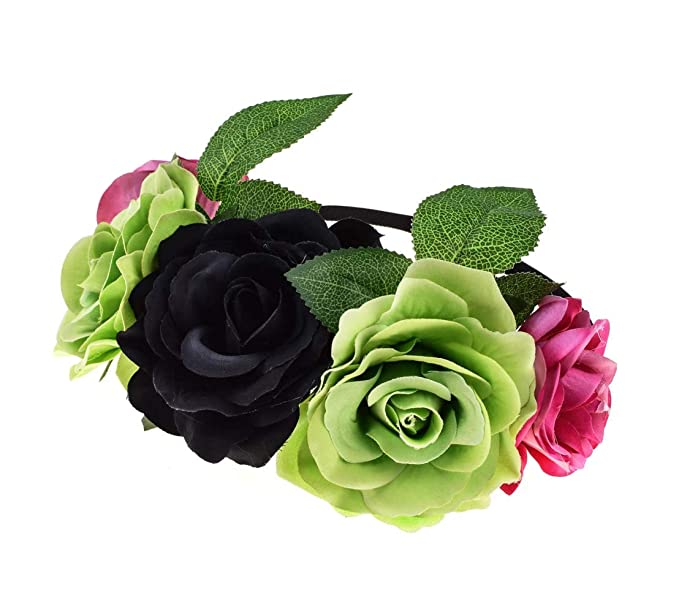 39eda9c4a5d50d Love Fairy Hawaiian Stretch Rose Flower Headband Floral Crown for Halloween  Party (Black Green)