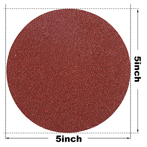 HIFROM 5 Inch Sanding Discs NO-Hole Hook and Loop 40 Grit Sandpaper Aluminum Oxide Random Orbital Sander Pads (60-Pack) by HIFROM (Image #2)