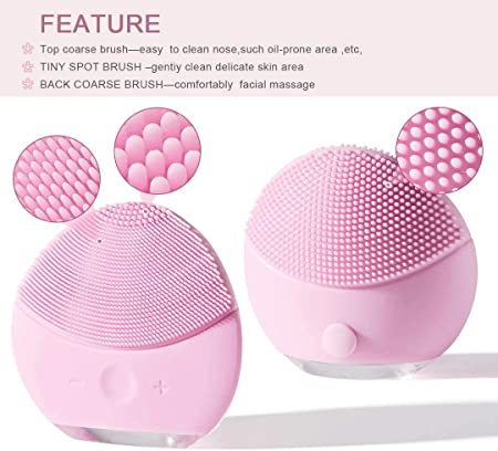 Cepillo de Limpieza Facial, Masajeador Facial y Dispositivo de Cuidado de la piel Antienvejecimiento Para Todos los Tipos de piel (Rosa4)