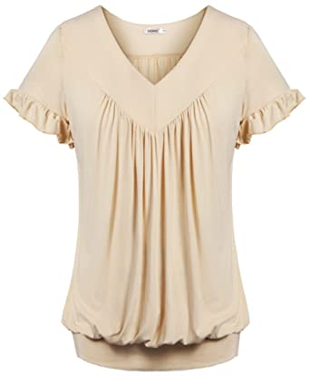 27eb0eeabf Bepei Women Top V Neck Short Sleeves Front Pleated Tunic Shirts Blouses  Beige S