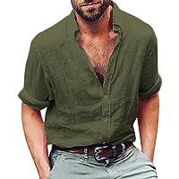 Homme à Manches Longues Henley Chemise en Coton Lin Yoga de Plage Ample Tops Blouse Malloom