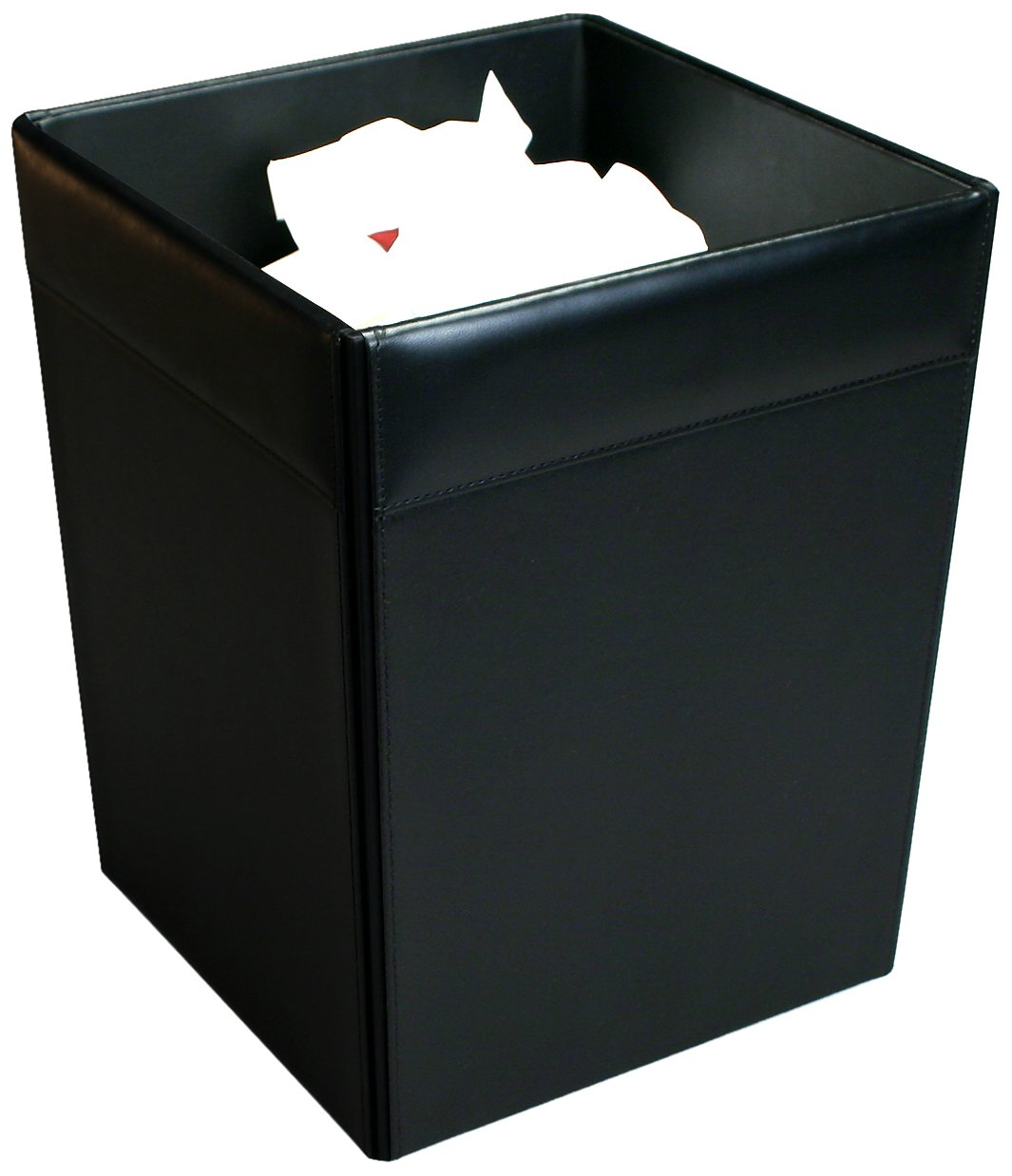 Dacasso Black Leather Waste Basket