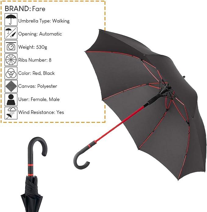 Fare R/ésistant au vent avec le syst/ème int/érieur rouge Automatique Parapluie long