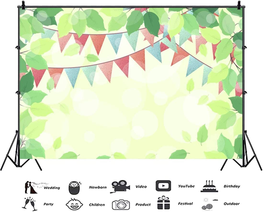 Yeele 10x8ft Spring Scenes Photography Background Bunting Green Plant Sunshine Baby Room Wedding Decoration Photo Portrait Vinyl Studio Video Shooting Photo Backdrop