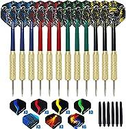 Lyukii Steel Tip Darts Set 18 Grams,12pack (12 PVC Dart Shafts &12 Darts Tails &12 Brass Barrels) with