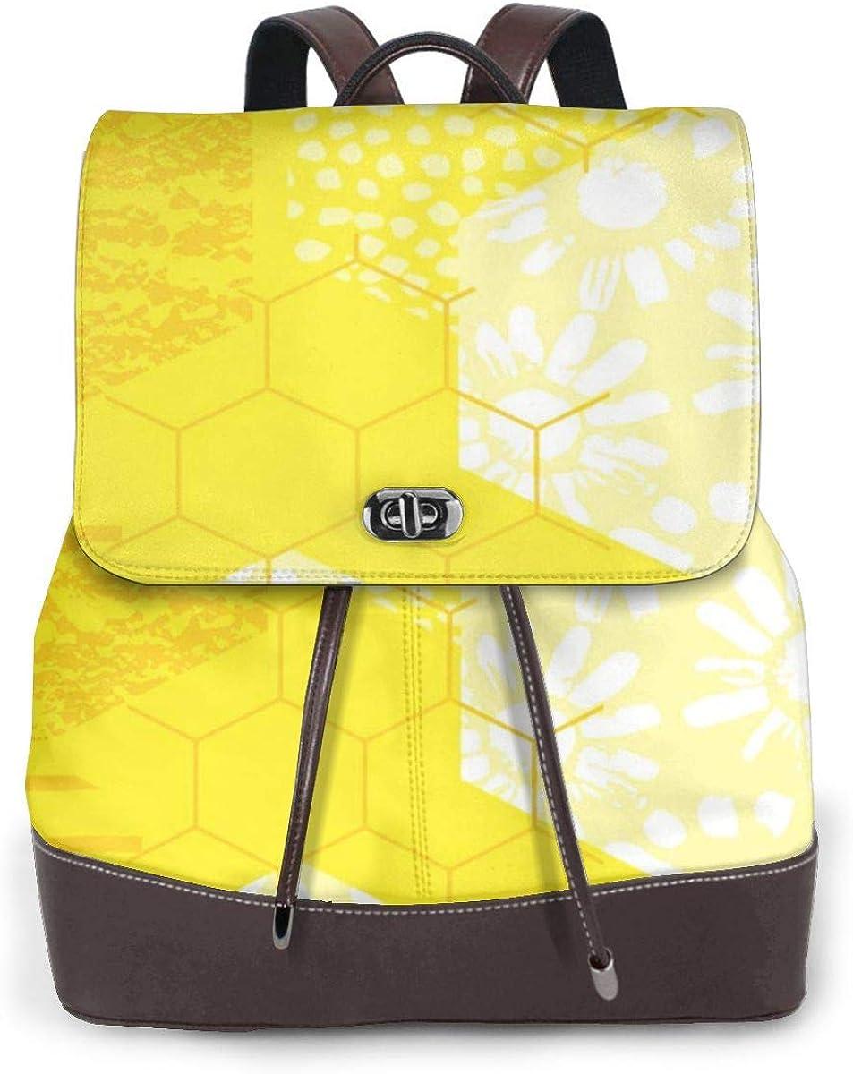 Mochila de Cuero Mujer Bolso Honeycomb Trendy Honey Estudiante Casual Bolsa La Universidad Bolsa de Viaje de Cuero Mochila Mujer