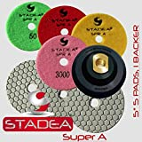 STADEA Diamond Polishing Pads 5'' Dry - Concrete Set of 5 Pieces with Rubber Backer