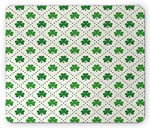ThrieApple Irish Mouse Pad, Four Leaf Shamrock Clover Flowers with Dotted Dashed Lines National Culture Symbol, Standard Size Rectangle Non-Slip Rubber Mousepad, Green White