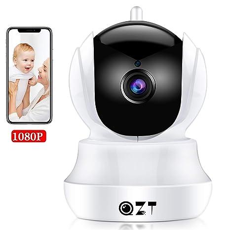 QZT Cámara IP HD, Cámara de Vigilancia WiFi Interior, Casa Seguridad Camara con Visión Nocturna, Detección Movimiento, Email Alarma, Inalámbrico Video ...