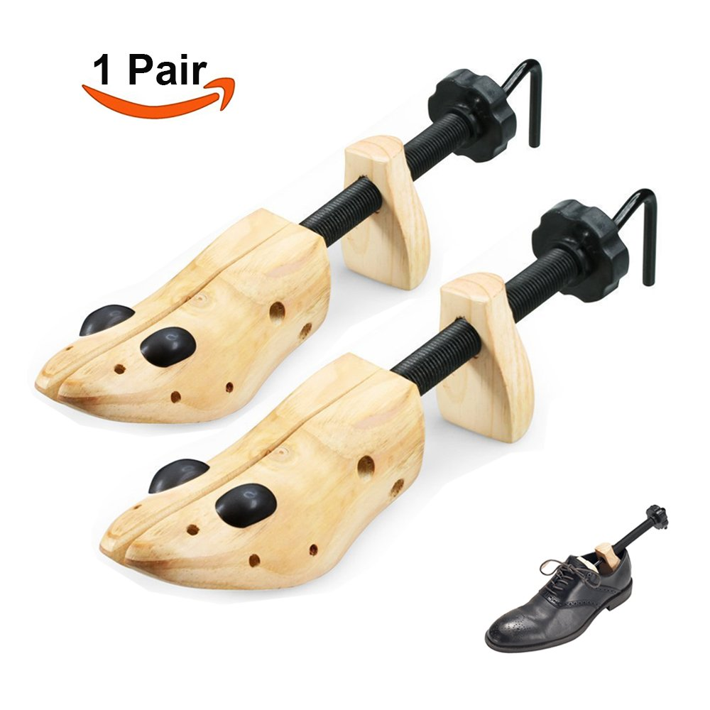 Echodo 2 Way Cedar Shoe Trees For Men Wooden Shoe Stretcher Adjustable Unisex Shaper Large Size for Men and Women, Wood Shaper Set of 2 Woman's Size 10 to 13.5 Man's Size 9 to 13