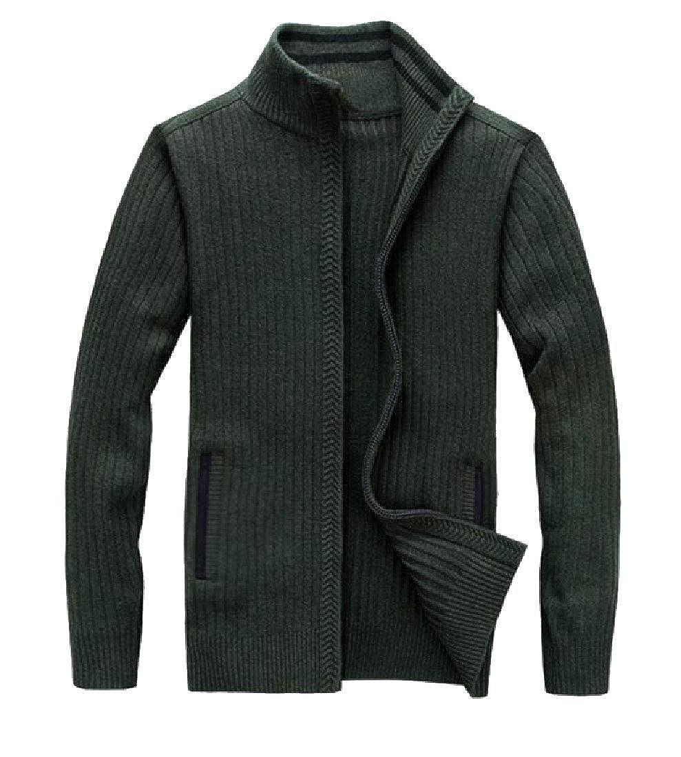 UNINUKOO Unko Mens Casual Zip-Up Cardigan Sweater Mock Neck Solid Knitwear