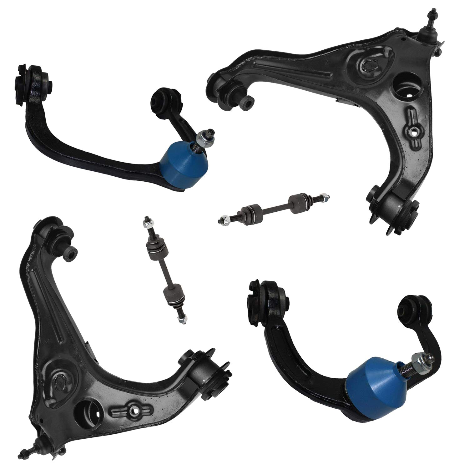 6pc Front Upper /& Lower Control Arms w//Ball Joints Sway Bar End Links for 2009 2010 2011 2012 2013 Ford F-150 4WD Exc Detroit Axle Raptor