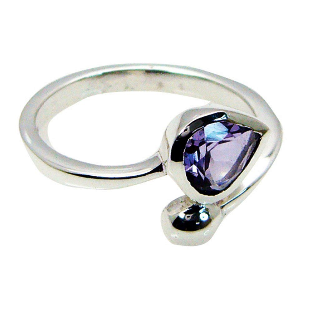Real Amethyst February Birthstone Chakra Healing Silver Ring For Women Pear Cut Size 5,6,7,8,9,10,11,12