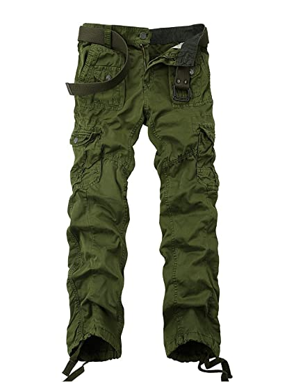 quality design low cost cute cheap OCHENTA Men's Cotton-Washed Casual Cargo Trousers #3380 Army Green Size 34