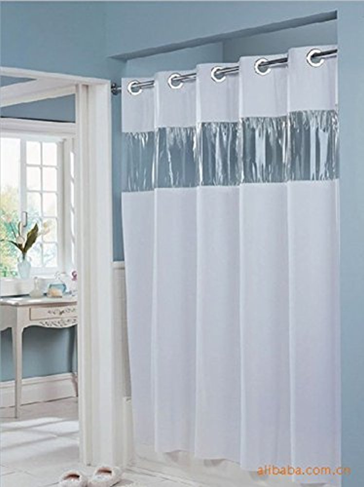 Vision Vinyl Shower Curtain HOOKLESS with Clear Top,Snap in Liner White