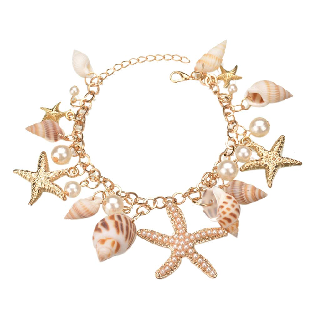 Subiceto Anklets for Women Boho Turquoise Shell Star Bead Turtle Rope Beach Anklets Bracelets Cute Foot Jewelry