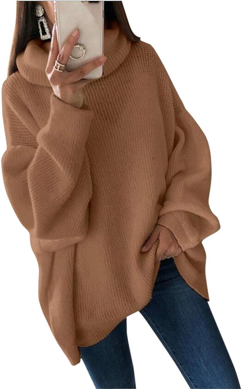 Aswinfon Collo Alto Maglione a Maglia Lunga da Donna Manica Lunga Pullover Sweater Autunno Inverno Lunghi Eleganti Maglioni