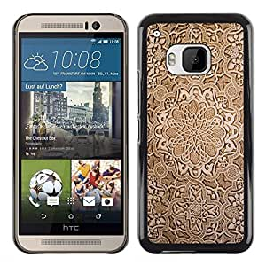 KOKO CASE / HTC One M9 / madera pintado tallado diseño de arte marrón / Delgado Negro Plástico caso cubierta Shell Armor Funda Case Cover