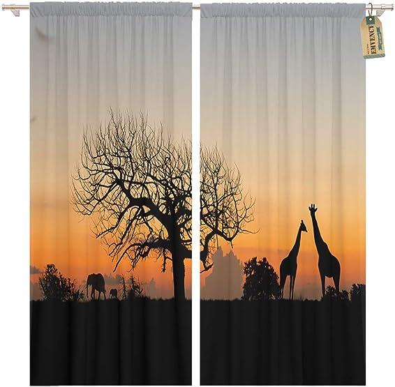 Golee Window Curtain Orange Exotic Africa Landscape Wildlife Beautiful Animal Dark Elephant Home Decor Pocket Drapes 2 Panels Curtain 104 x 96 inches