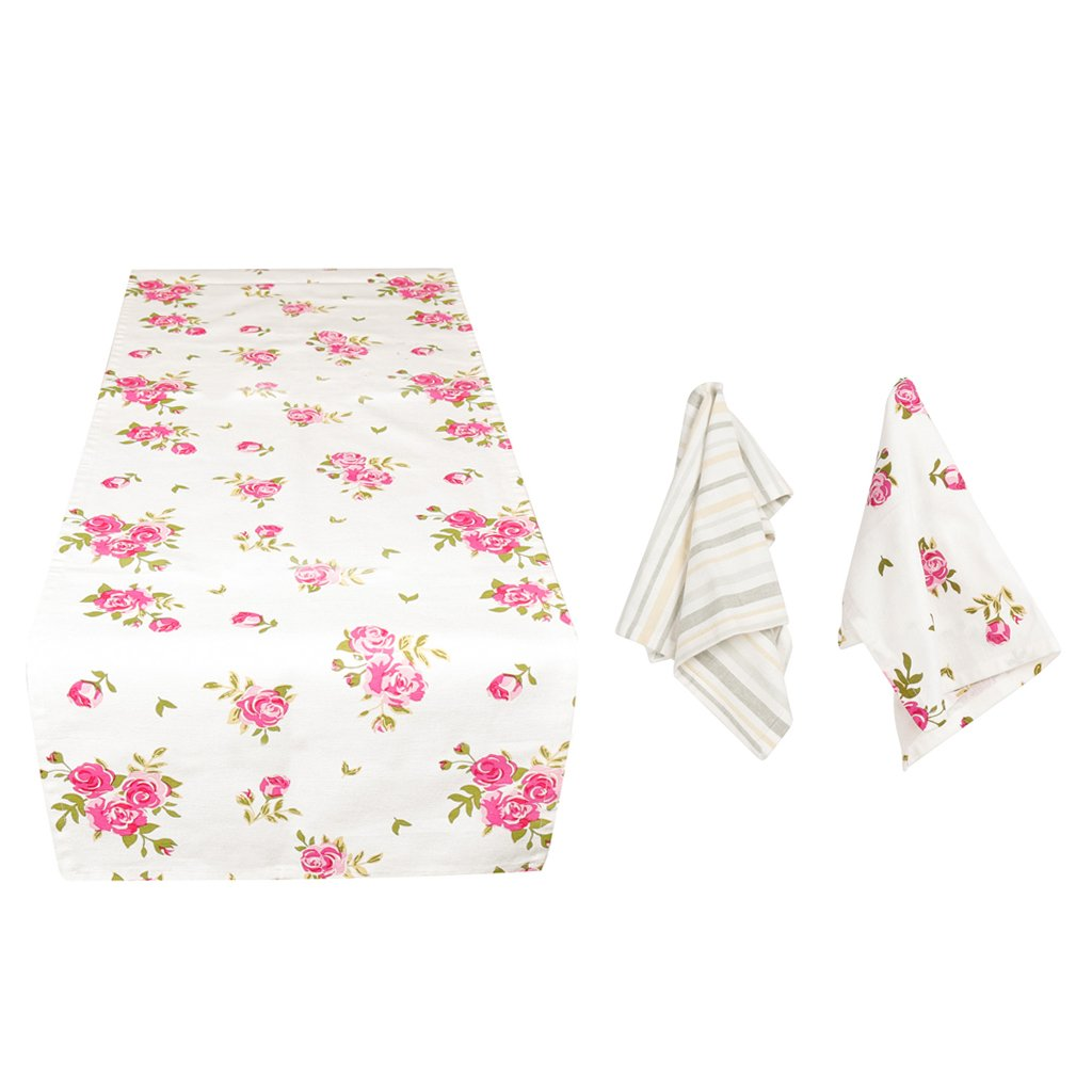 Dibor - French Style For The Home 2 Assorted 100% Cotton Napkins and Machine Washable Floral Print Table Runner