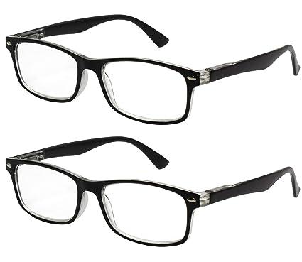 a5e5b19195 TBOC Gafas de Lectura Presbicia Vista Cansada - (Pack 2 Unidades) Graduadas  +2.00 Dioptrías Montura Pasta Bicolor ...