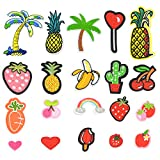 Satkago 24Pcs Exquisite DIY Clothes Patches Stickers Mini Fruit Vegetable Pattern Embroidered Iron-on Patch for T-shirt Jeans Skirt Vests Scarf Hats Bags Clothing Craft
