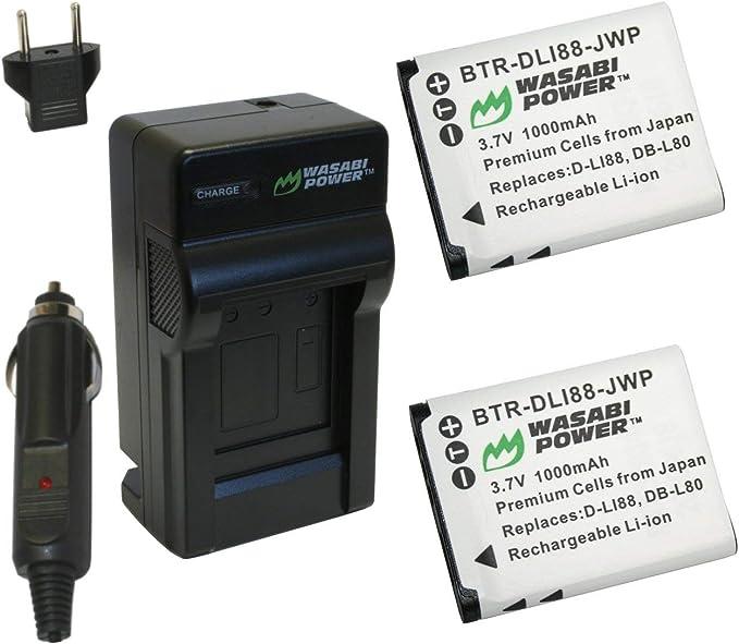 Kit de Cargador de Batería para Pentax Optio W90 W-90