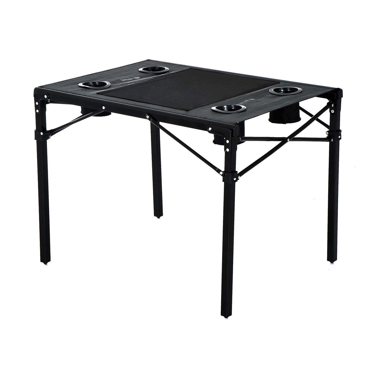 Outsunny Folding Camping Table with Cup Holders - Black
