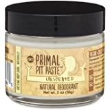 PRIMAL PIT PASTE All Natural Unscented Deodorant | 2 Ounce Jar | NO Aluminum, NO Parabens, NO Phthalates | Made for Women and Men of All Ages | Non-GMO, Cruelty Free, Earth Friendly, BPA Free