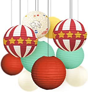 NICROLANDEE Circus Party Decorations Supplies Red and White Paper Lanterns Old-Fashioned for Carnival Games Dumbo Birthday Party BabyShower KidsParty Decor (Retro Circus)